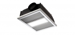 Regent silver, 1 x 12w LED centre light, 2 x 500w infrared heat strips, 350m3/h air delivery, 40w motor, cut out size 415mm x 330mm, fascia size 440mm x 358mm, 200mm install depth