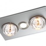 Myka 2 silver, 2 x 275w heat lamps, 1 x 10w LED centre light, 28w motor, cut out size 355 x 200mm, fascia size 420 x 245mm, minimum install depth 200mm
