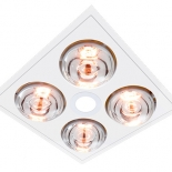 Myka 4 white, 4 x 275w heat lamps, 1 x 10w LED centre light, 28w motor, cut out size 310 x 300mm, fascia size 370 x 370mm, minimum install depth 220mm