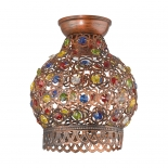 BF74, 1 x 60w B22, antique copper metal ware, coloured glass beads, 225mm high, 195mm diameter