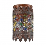 BF74, 1 x 60w B22, antique copper metal ware, coloured glass beads, 175mm high, 100mm diameter