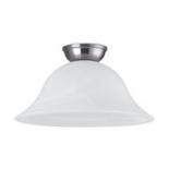 BF76, 1 x 60w B22, satin nickel metal ware, alabaster glass, 155mm high, 300mm diameter