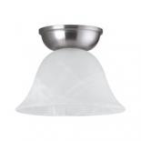BF76, 1 x 60w B22, satin nickel metal ware, alabaster glass, 125mm high, 170mm diameter