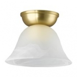 BF76, 1 x 60w B22, matt brass metal ware, alabaster glass, 125mm high, 170mm diameter