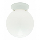 BF12, 60w B22, opal glass with white metal ware, 170mm high, 150mm wide