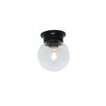 BF59, 1 x 25w B22, black metal ware, clear glass ball, 15cm diameter, 18cm high
