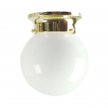 BF12, 60w B22, opal glass with brass metal ware, 170mm high, 150mm wide