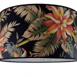 "Black Floral fabric drum shade, available in 14"" & 17"""