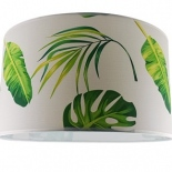 "Green Leaf fabric drum shade, available in 14"" & 17"""