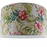"Pink Flower fabric drum shade, available in 14"" & 17"""