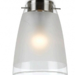 BF7, 60w B22, brushed chrome metalware with frosted and clear glass, 200mm, 160mm wide