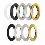 Optional Roystar Trims, flat or recessed trims available in white, brushed chrome, aluminium, brass & black