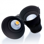Titanium LED downlight, available in 12w 3000k 800lm, 12w 4000k 840lm, also in 15w 3000k 1000lm, 15w 4000k 1070lm, finished in uv textured black, dimmable, 7 year warranty