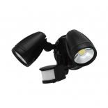 EX116, 2lt LED Spotlight with Sensor, Black  cast aluminium, Tri-Colour 3000k, 4000k, 5000k, 2 x 15w LED, 1300 lumens per head, IP54, 275mm Long, 120mm high, Sensor has Manual Override