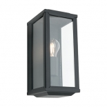 EX43, 60w E27, black metalware with clear glass, 278mm high, 120mm wide