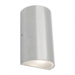 EX4, up/down round, 2 x 6w LED, 4000k, brushed chrome, IP54, 850 lumens, 160mm high, 90mm wide