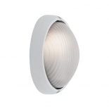 EX109, 1 x 60w E27, oval white metalware, frost ribbed glass, 215mm wide, 140mm high, 95mm projection