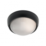 EX109, 1 x 60w E27, round black metalware, frost ribbed glass, 190mm wide, 95mm projection