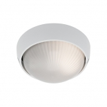 EX109, 1 x 60w E27, round white metalware, frost ribbed glass, 190mm wide, 95mm projection