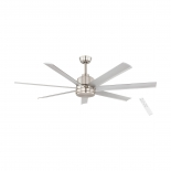 Tourbillion 60 DC fan, indoor/outdoor rated, brush nickel motor, 7 aluminium blades, 5 speed remote control with timer function, optional 18w LED light, 1200 lumens, 4000k, also available in larger 80 inch diameter, matt black or white finish optional