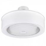 Manhatten, Fully enclosed design with 360 degree 22w LED light, indoor/covered outdoor rated, 3 speed remote control with led dimmer and run on timer function, rotating white louvre