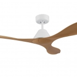 Nevis 52 DC ceiling fan, indoor/outdoor rated, white motor 3 bamboo ABS blades, 5 speed remote control with timer included