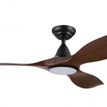 """Noosa 60"""" DC ceiling fan, indoor/outdoor rated, black motor 3 elm  ABS blades, 5 speed remote control with timer included, LED  18w CCT light 1640 lumens"""