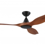 """Noosa 60"""" DC ceiling fan, indoor/outdoor rated, black motor 3 teak  ABS blades, 5 speed remote control with timer included"""