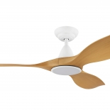 """Noosa 60"""" DC ceiling fan, indoor/outdoor rated, white motor 3 bamboo  ABS blades, 5 speed remote control with timer included, LED light 18w CCT 1640 lumens"""