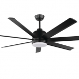 Tourbillion 60 DC fan, indoor/outdoor rated, black motor, 7 aluminium black blades, 5 speed remote control with timer function, shown with optional 18w LED light, 1200 lumens, 4000k, also available in larger 80 inch diameter, brush nickel or white finish optional