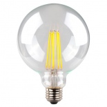 Clear G95 LED Globe, available in E27 & B22, 8w, 3000k & 5000k