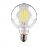 Clear G95 LED Globe, available in E27 & B22, 6w, 3000k & 5000k
