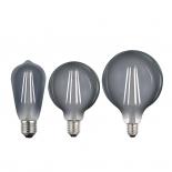 Smoke LED Globes, 240v E27, 8w, 4000k, Pear, G95 & G125