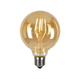G95 LED, 4w or 6w vintage amber, E27, 4w 3000k 360 lumens, 6w 3000k 550 lumens, also available in frost 4000k, 4w 400 lumens, 6w 600 lumens