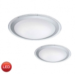 OY7, 22w LED 4000k, 1600 lumens, satin silver/clear/opal diffuser, 430mm round, also available in 16w 1100 lumens, 340mm round