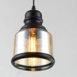 P211, 1 x 40w E27, black/amber glass, 210mm high, 1.2m cable