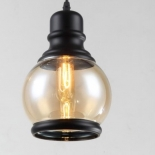P217, 1 x 40w E27, black/amber glass, 230mm high, 1.2m cable
