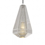 P267, 1 x 25w E27, Chrome laser cut metal shade, 335mm high, 200mm wide, 1500mm cable