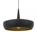 P268, 1 x 25w E27, Matt black with gold inner, 480mm high, 300mm wide, 2000mm cable