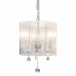 P208, 3 x 40w E14, white string shade, chrome metalware, 28cm high, 33cm wide