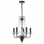 P334, 5 x 25w E14, black metal ware with clear crystal, 450mm wide, 540mm high, 2m of cable