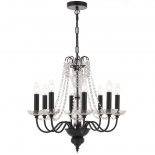 P334, 8 x 25w E14, black metal ware with clear crystal, 600mm wide, 580mm high, 2m of cable