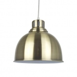 P274, 1 x 60w E27, antique brass metal shade, 250mm wide, 220mm high, 1.5m cable