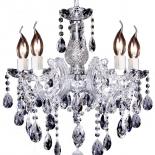 P291, 5 x 60w E14, clear crystal & chrome,  52cm high, 45cm wide