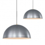 P284, 1 x 40w E27, satin nickel metal shade with white inside, available in 40cm & 60cm, 1.4m black cable