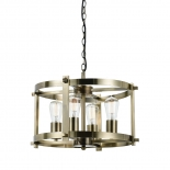 P141, 4lt pendant, 25w E27 antique brass metalware, 280mm high x 460mm wide, also available in 6lt version 260mm high x 600mm wide