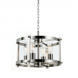 P141, 4lt pendant, 25w E27 brushed chrome metalware, 280mm high x 460mm wide, also available in 6lt version 260mm high x 600mm wide