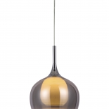 P314, 1lt 60w E27, smoked outer with frost inner glass, chrome metal ware, 290mm wide, 370mm high, 1.2mtr suspension cable