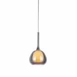 P314, 1lt 60w E14, smoke outer with frost inner glass, chrome metal ware, 160mm wide, 280mm high, 1.2mtr suspension cable