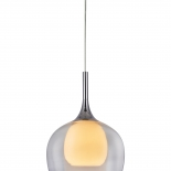 P314, 1lt 60w E27, clear outer with frost inner glass, chrome metal ware, 290mm wide, 370mm high, 1.2mtr suspension cable